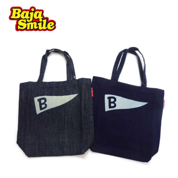 【2018 新作♪】Baja Smile(バハスマイル)缶バッチ付きA4トートバック【メール便可能】
