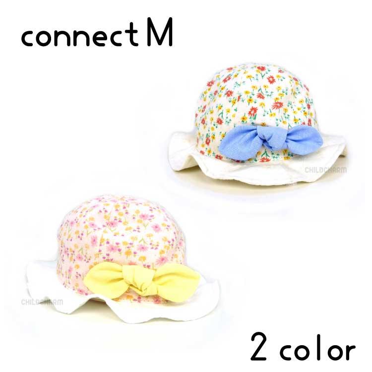 【日本製】connect M(コネクトエム)花柄つば広ハット【UVカット】【メール便送料無料】