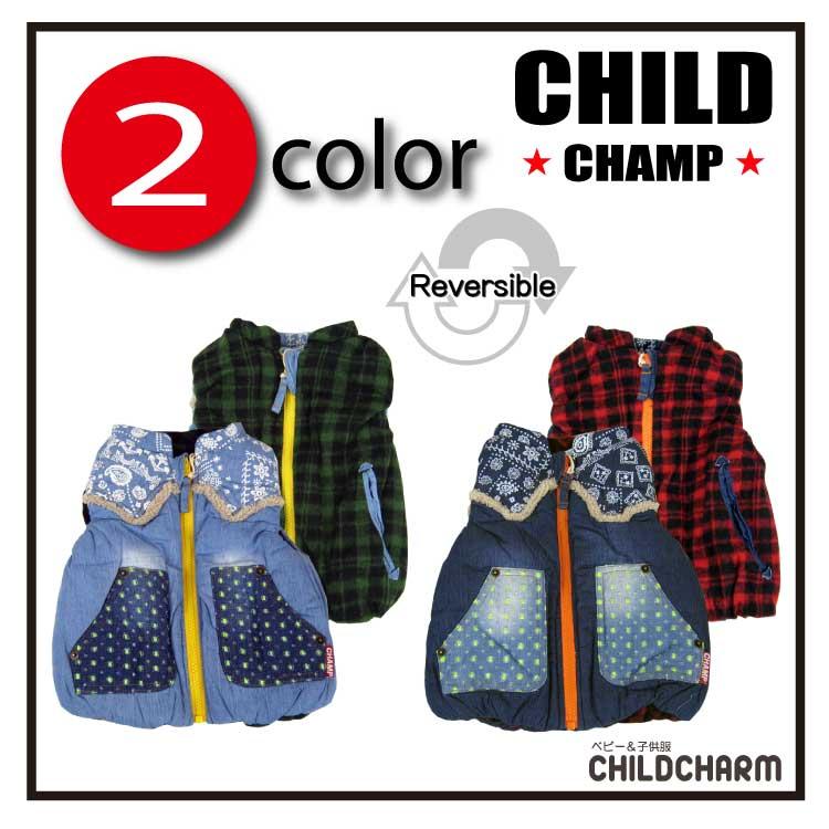 【SALE!!20%OFF!!】CHILD CHAMP(チャイルドチャンプ)バンダナ柄切替リバーシブル中綿ベスト【メール便不可!!】
