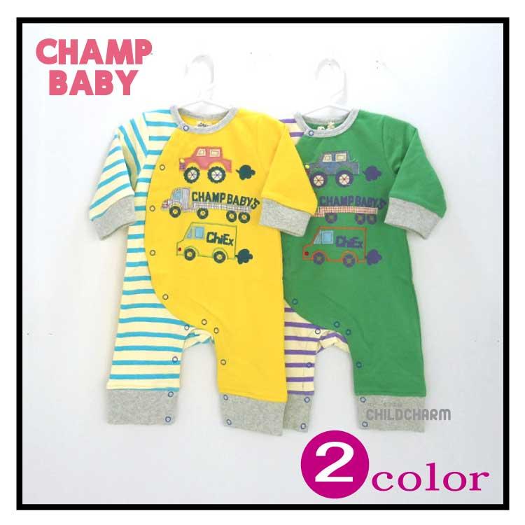 【2017春物新作♪】CHAMP BABY(チャンプベビー)車刺繍カバーオール【メール便可能】