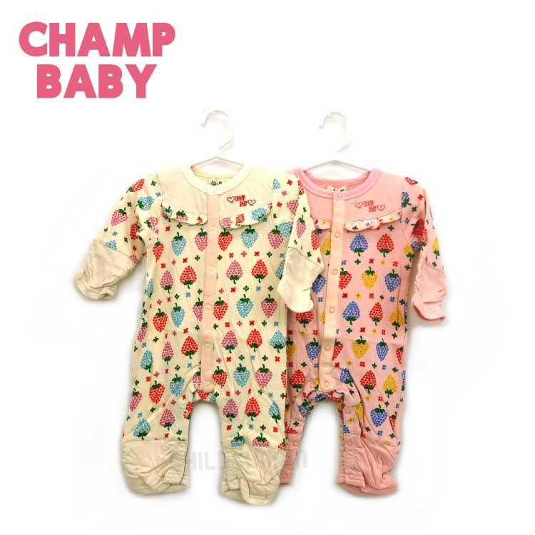 【2018春夏物新作♪】CHAMP BABY(チャンプベビー)イチゴ総柄カバーオール(70cm)【メール便可能】