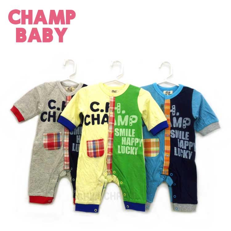 【2018春夏物新作♪】CHAMP BABY(チャンプベビー)ナンバリングミニカバーオール(70cm)【メール便可能】
