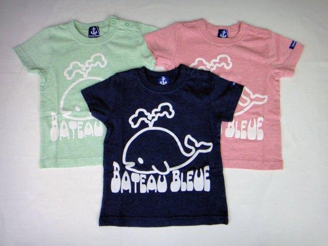 【1000円均一】Bateau Bleue(バトーブルー)くじらプリント半袖Tシャツ★90サイズのみ【メール便可能】
