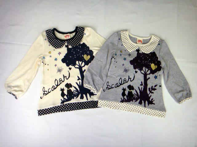 【40%OFFSALE】ScoLar(スカラー)ドット柄衿付き長袖Tシャツ