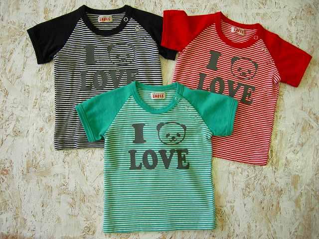 【800円均一】GAOSS(ギャオス)I PANDA LOVE ボーダーTシャツ☆80,90サイズのみ【メール便可能】