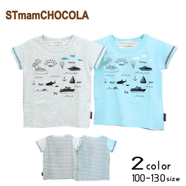 【2021夏物新作】chocola(ショコラ)船プリント半袖Tシャツ【メール便送料無料】