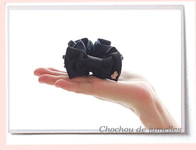 【親子お揃いプレゼント】チェック&ブラックリボンのガールズシュシュ【出産祝い/誕生日/姉妹/ジュメル神戸】