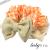 【親子お揃いプレゼント】オレンジギンガムチェックとベージュリボンベビーシュシュラトル【出産祝い/誕生日/ジュメル神戸/記念】サイズ