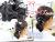 親子お揃いシュシュ(ペアヘアアクセサリー)専門店ジュメルブラックギンガムチェックとブラックリボンガールズシュシュママアレンジ画像