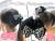 親子お揃いシュシュ専門店ジュメルブラックシフォンとブラックギンガムチェックリボンガールズシュシュメイン画像1