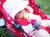 親子お揃いシュシュ(ペアヘアアクセサリー)専門店ジュメルヒューシャピンクとグレーリボンベビーシュシュ(ラトル)メイン 2