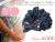 【親子お揃いプレゼント】ネイビーシフォンとダブルカラーリボンのベビーシュシュ形ラトル【出産祝い/誕生日/ジュメル神戸/記念】メイン