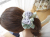 【親子お揃いプレゼント】ピンクドットグリーンとブルーリボンのママシュシュ【出産祝い/誕生日/ジュメル神戸/記念】メイン1