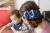 【親子お揃いプレゼント】ネイビーとボーダーネイビーリボンのママシュシュ【出産祝い/誕生日/ジュメル神戸/クリスマス】画像3