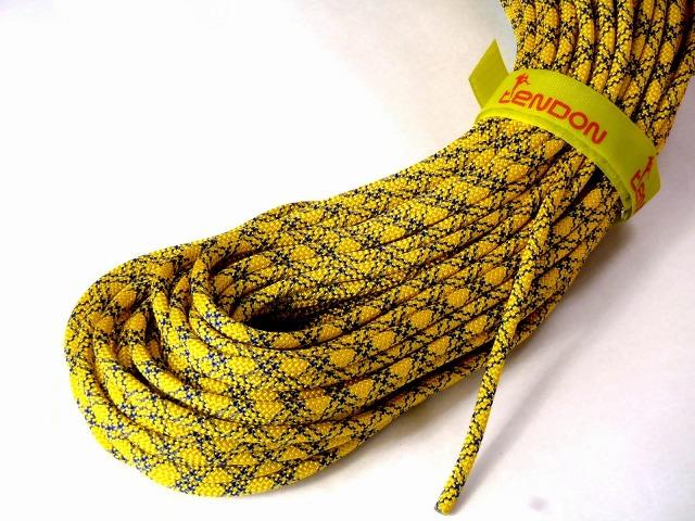 テンドン クライミングロープ アンビション ダブル 8.5mm 60m コンプリートシールド加工 イエロー
