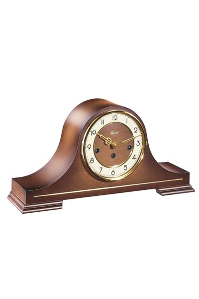 アンティーク調高級置時計。天然高級木材クルミ材を光沢高級仕上げた機械式置時計。