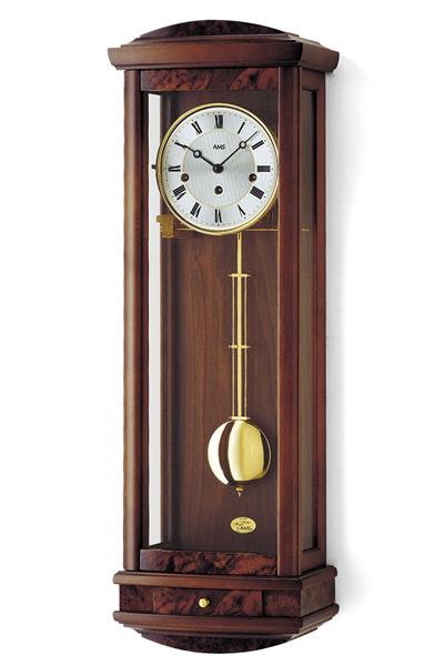 高級天然木材仕上げた伝統的なエレガントな柱掛け時計。AMS2607(2色)