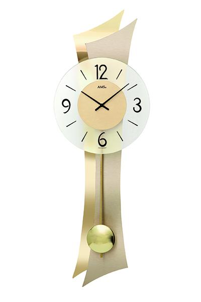 スタイリッシュなデザイン掛け時計(ゴールド)AMS7427