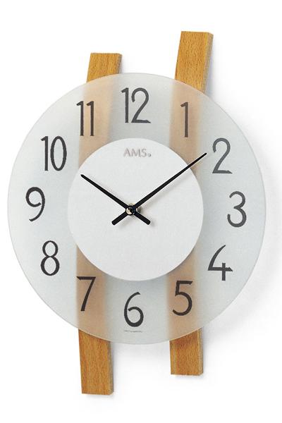 シンプルな木目装飾デザイン掛時計。AMS9203