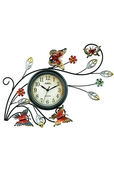おしゃれな蝶々モチーフのロートアイアン装飾デザイン掛け時計。 AMS9446