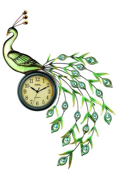 おしゃれなクジャクのロートアイアン装飾デザイン掛け時計。 AMS9447