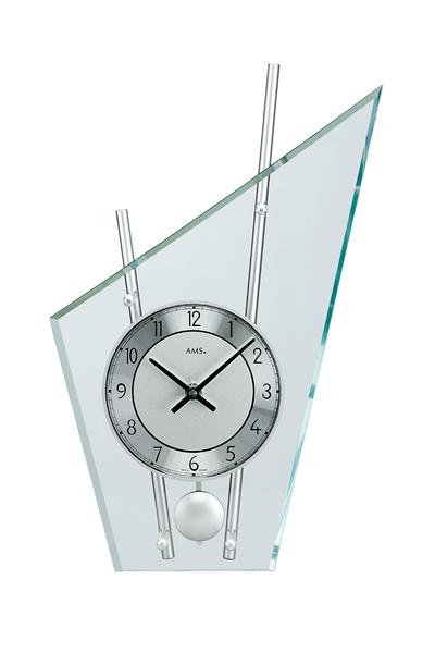 スタイリッシュなデザイン置き時計(シルバー)AMS153