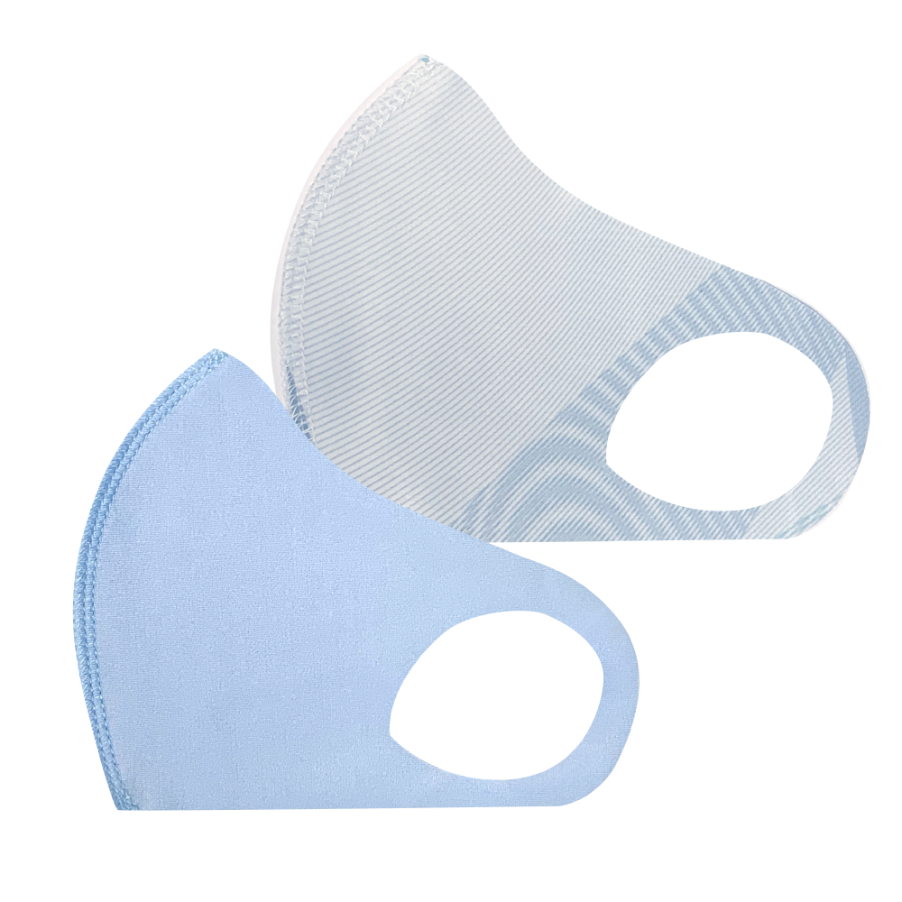 幼児用 マスク 101/ブルー+サークルミント (2枚セット/無地+柄)