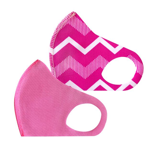 幼児用 マスク 210/ピンク+ギザギザピンク (2枚セット/無地+柄)