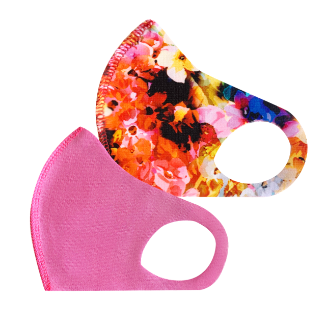 幼児用 マスク 206/ピンク+お花畑レッド (2枚セット/無地+柄)
