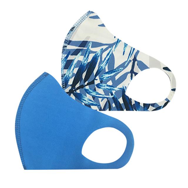 クロッツ マスク キッズ/110 ブルー系無地+ブルーグラス (2枚セット/無地+柄)