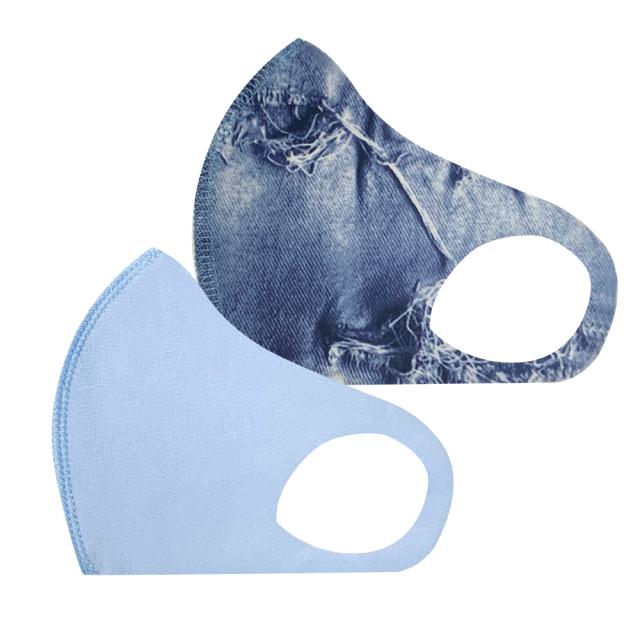 幼児用 マスク 102/ブルー+デニム (2枚セット/無地+柄)