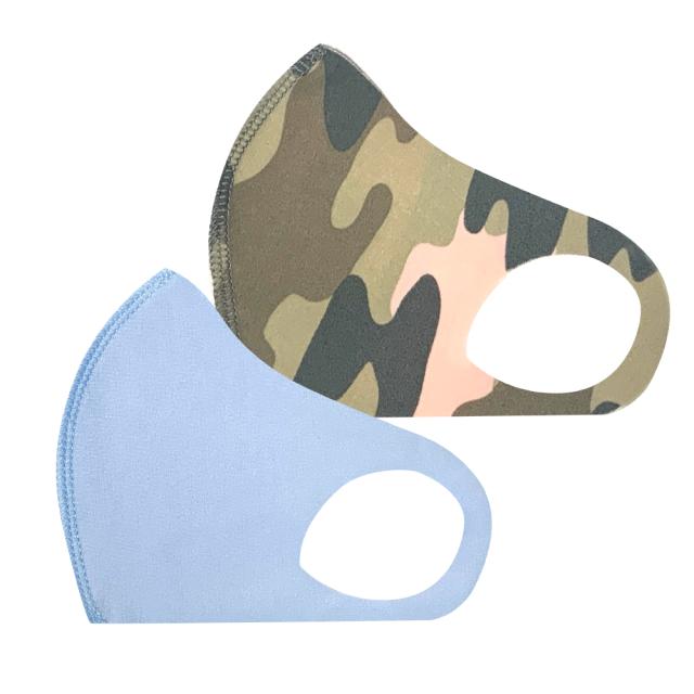 幼児用 マスク 103/ブルー+カモフラピンク (2枚セット/無地+柄)