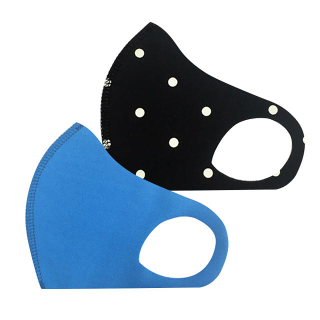 幼児用 マスク 104/ブルー+ドットブラック (2枚セット/無地+柄)
