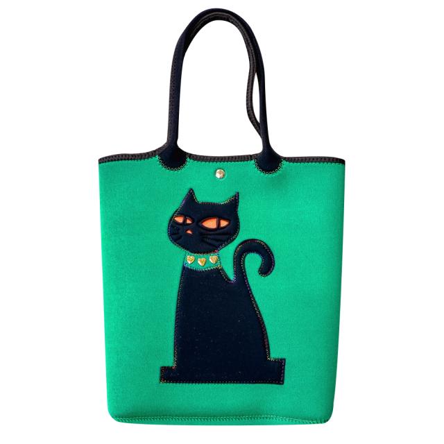 クロッツ トートバッグ 表地グリーン 猫ブラック