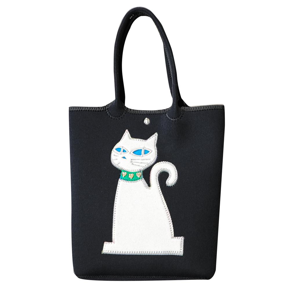クロッツ トートバッグ 表地ブラック 猫ホワイト