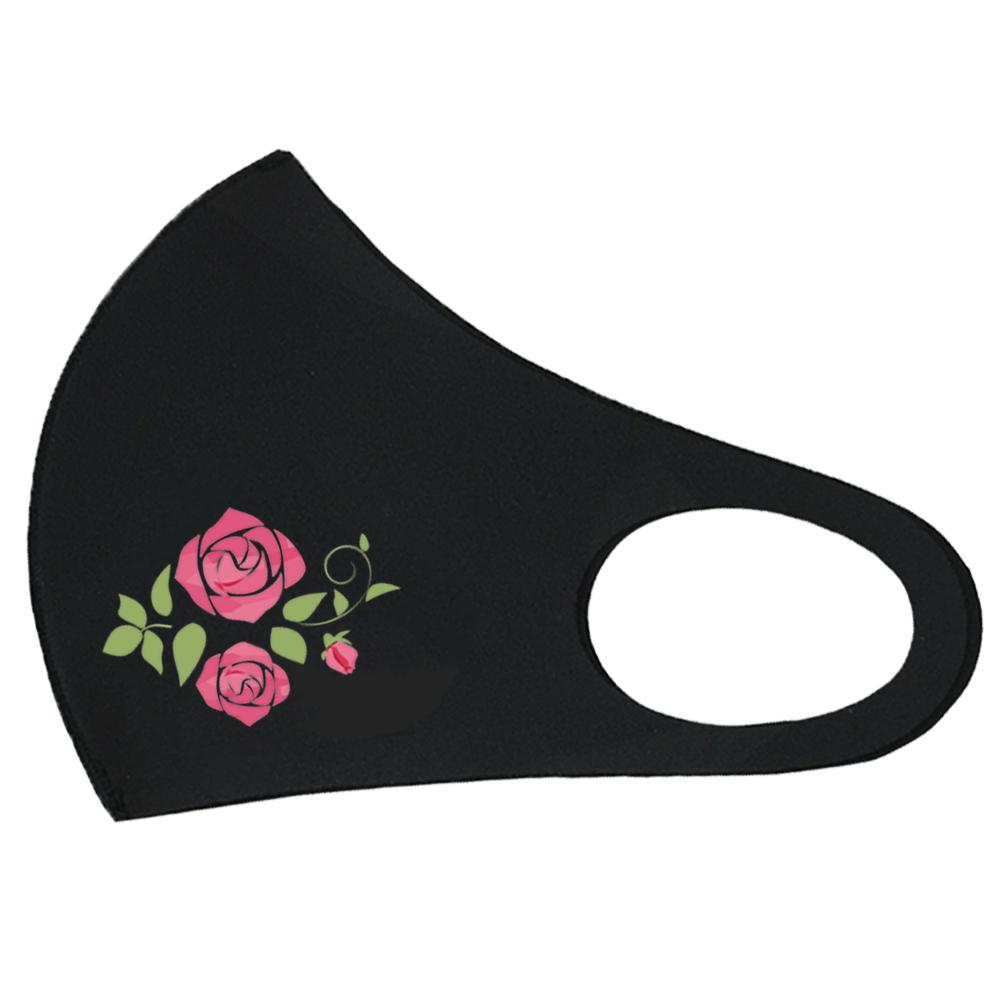 クロッツ マスク ナノシルバー ピンク薔薇イラスト入り (1枚入り) ブラック