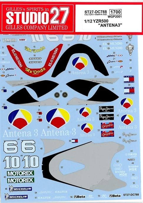 """DC788  1/12 YAMAHA YZR500 """"ANTENA3"""" WGP 2001"""