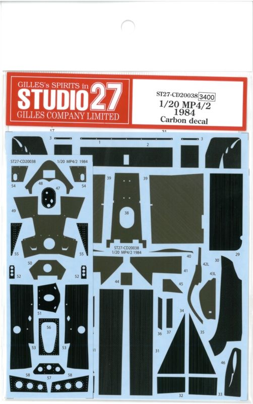 CD20038  1/20 MP4/2 1984 Carbon decal (A社1/20 MP4/2 1984British対応)
