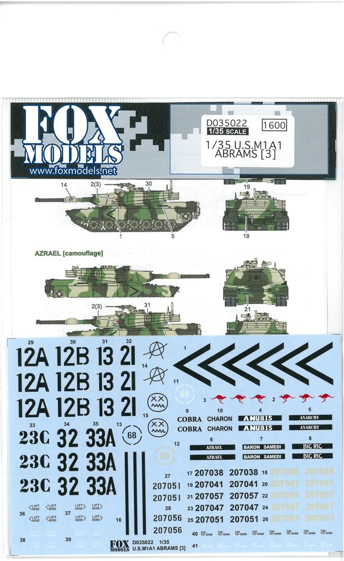 D035022  1/35 U.S. M1A1 ABRAMS[3](T社1/35対応)