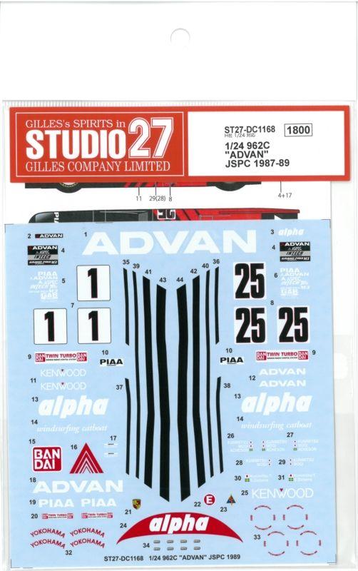 "DC1168  1/24 962C ""ADVAN"" JSPC 1987-89 (H社1/24対応)"