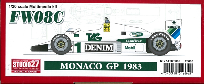 FD20005 FW08C MONACO GP 1983 1/20 scale Multimedia kit