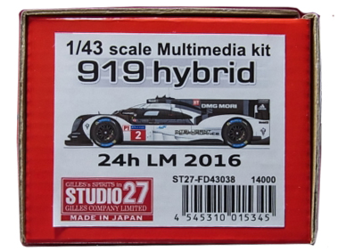 FD43038  919 hybrid 24h LM 2016 1/43 scale Multimedia kit