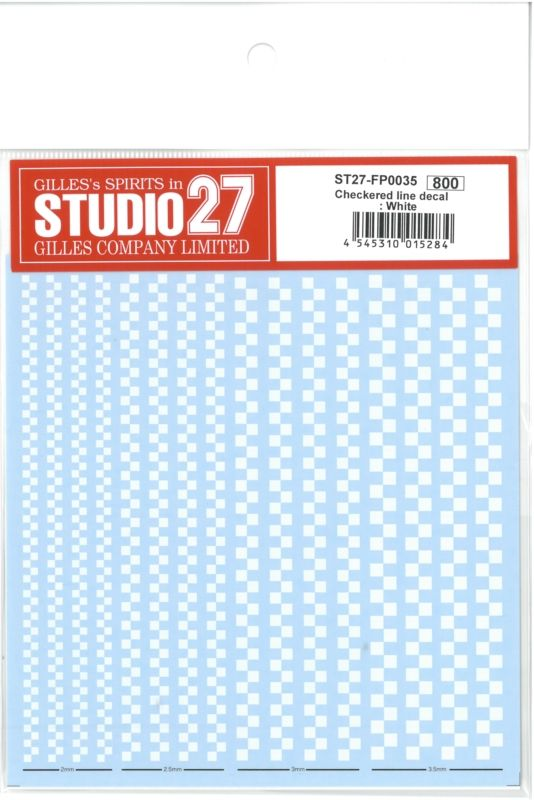 FP0035  Checkered line decal : White
