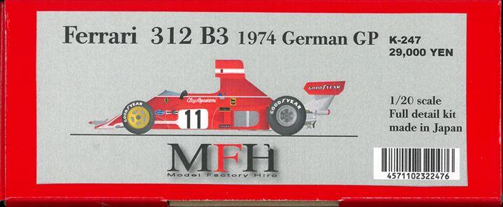 K247 VerC Ferrari312B3 1974  GermanGP 1/20scale Fulldetail kit
