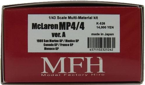 K526   【ver.A】  McLaren MP4/4  1/43scale Multi Material kit