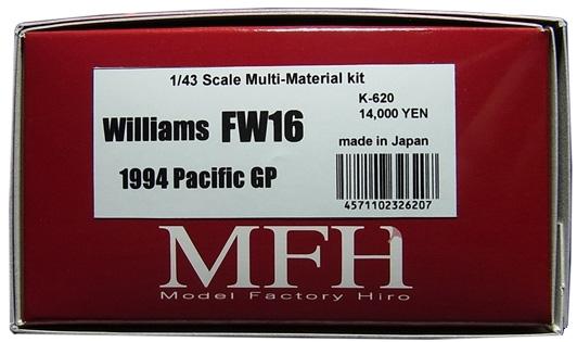 K620 【 Ver.C】 Williams  FW16 Pacific GP 1/43scale Multi-Material Kit★他社製スポンサーデカールセット★