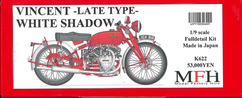 K622 (Ver.B) : VINCENT [Late Type]  White Shadow 1950  1/9scale Fulldetail Kit