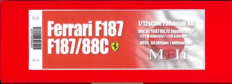 K624 (Ver.A) Ferrari F187  1987 Rd.15 Japanese GP 1/12scale Fulldetail Kit