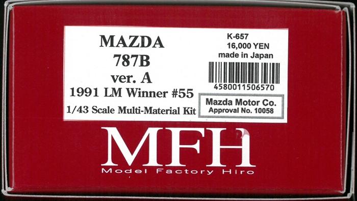 K657 【Ver.A】  MAZDA 787B 1991 LM 24hours Winner #55  1/43sacle Multi-Material Kit