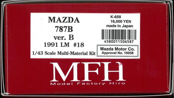 K658 【Ver.B】  MAZDA 787B 1991 LM 24hours #8  1/43sacle Multi-Material Kit